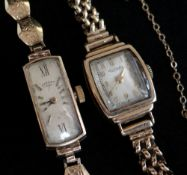TWO 9CT GOLD LADIES ROTARY WRISTWATCHES, the inner back covers and the bracelets hallmarked for