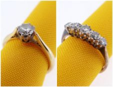 TWO DIAMOND RINGS including 18ct gold diamond solitaire ring, 0.33cts approx. visual estimate,