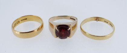THREE GOLD RINGS, incl 18ct garnet ring, 18ct wedding band (cut), and 22ct wedding band (3)