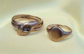 GOLD RINGS comprising 9ct gold snake ring and a 9ct gold signet ring, 7.8gms overall (2)