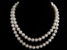 CULTURED PEARL SINGLE STRAND NECKLACE, with 14ct diamond clasp, pearls approximately 7mms