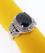 9CT GOLD SAPPHIRE & DIAMOND CHIP RING, ring size N, 4.6gms