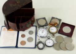 ASSORTED COINS, WATCHES & JEWELLERY comprising fob watch, two small pocket watches, stop watch,
