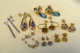 ASSORTED EARRINGS comprising eight pairs including 18ct gold and 9ct gold, gem set ETC