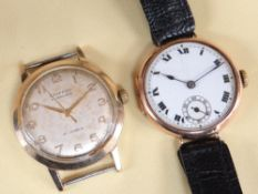 TWO WRISTWATCHES, comprising 9CT GOLD TRENCH WATCH, import marks for Glasgow 1924, enamel Roman dial