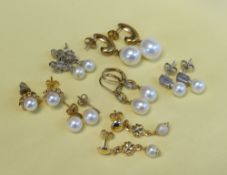 ASSORTED PEARL EARRINGS comprising seven pairs including diamond chip and 9ct gold