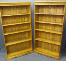 MODERN PINE OPEN BOOKCASES (2) - with adjustable shelving on shaped plinth bases, 166cms H, 88cms W,