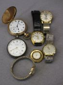 SILVER CASED & GOLD PLATED POCKET WATCHES (2) along with a quantity of lady's and gent's
