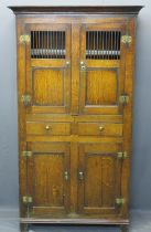 GEORGE IV & LATER WELSH OAK CWPWRDD BARA CAWS/BREAD & CHEESE CUPBOARD - the upper section with