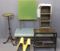 VINTAGE & LATER FURNITURE PARCEL, 6 ITEMS including a long upholstered foot stool, small oak book