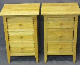 ULTRA MODERN OAK THREE DRAWER BEDSIDE CHESTS (2) by Willis & Gambier - having turned wooden drawer