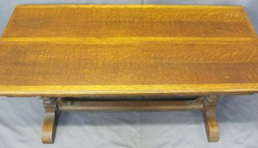 VINTAGE OAK Ee-ZI-WAY ONE MOTION EXTENDING TABLE - side pull action with fold out central leaf,