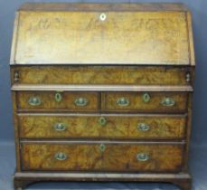 GEORGE III WALNUT FALL FRONT BUREAU - having later replacements, crossbanded burr walnut sectional