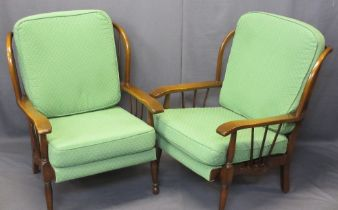 VINTAGE STICK BACK FIRESIDE ARMCHAIRS - Ercol/Parker Knoll style with reupholstered slip-off green
