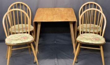 ERCOL LIGHT ELM DROP-LEAF DINING TABLE & FOUR HOOP SPINDLE BACK CHAIRS - original blue labels