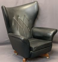 RETRO BLACK LEATHER EFFECT BLOFELD TYPE SWIVEL ARMCHAIR - 103cms H, 82.5cms W, 52cms seat D, no