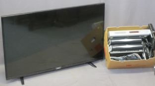 L G 49IN FLATSCREEN TV & ASSOCIATED VISUAL PLAYERS including a Polaroid DVD, Sky boxes (2), Phillips