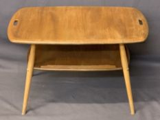 ERCOL LIGHT ELM BUTLER'S TYPE TABLE - the top having fret cut carry handles with under-tier shelf (