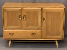 ERCOL LIGHT ELM WINDSOR SIDEBOARD CIRCA 1960 MODEL 366 designed by Lucian Ercolani, on tapered