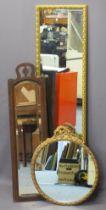 VINTAGE & LATER WALL MIRRORS (3) - a long rectangular gilt example, 125cms H, 34cms W, mahogany
