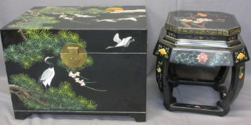 JAPANESE LACQUERWORK & PAINTED LIDDED CHEST with similarly styled octagonal side table, 48cms H,