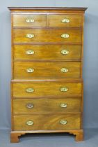 REGENCY MAHOGANY CHEST ON CHEST - the cornice with Greek Key decoration over two short and six