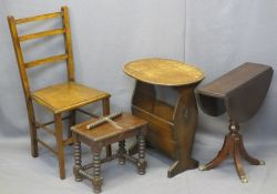 VINTAGE & LATER OCCASIONAL FURNITURE PARCEL, 4 ITEMS - an oak table/magazine rack, 57.5cms H,