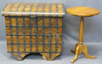 REPRODUCTION DOME TOP TRUNK ON WOODEN WHEELS and a modern pine circular top side table on tripod