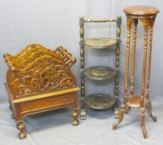 VINTAGE & REPRODUCTION OCCASIONAL FURNITURE, 3 ITEMS - a vintage oak three-tier cake stand on turn