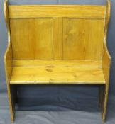 NEATLY PROPORTIONED STRIPPED PINE CURVED BENCH - with shaped ends, 110cms H, 96cms W, 44cms max D