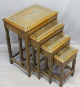 CHINESE HARDWOOD TABLE QUARTETTO - the tops with deep carved decoration and inset glass covers,