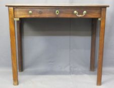 GEORGIAN MAHOGANY SINGLE DRAWER SIDE TABLE - on square uprights with canted back edge, 70cms H, 83.