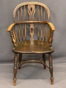 CIRCA 1840 ASH & ELM WINDSOR ARMCHAIR with crinoline stretcher, good warm colour and wear having a