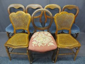 VICTORIAN & LATER SALON CHAIRS (7) - a matching set of four balloon backs with stuff over seats on