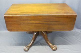 VICTORIAN MAHOGANY DROP LEAF PEDESTAL TABLE - single end drawer and opposing blind drawer with