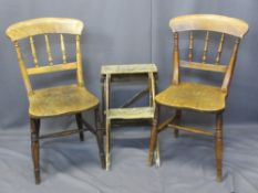 TWO VINTAGE FARMHOUSE OAK CHAIRS and a folding two-step ladder, 84.5cms H, 38cms W, 38cms seat D,
