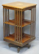 EDWARDIAN MAHOGANY REVOLVING BOOKCASE - 89.5cms H, 48 x 48cms top