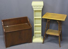 VINTAGE & REPRODUCTION FURNITURE ITEMS (3) - a two-tier bamboo occasional table with raffia shelf