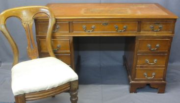 REPRODUCTION YEW WOOD TWIN PEDESTAL DESK and a vintage upholstered seat side chair, the desk