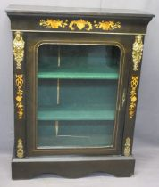 INLAID EBONISED SINGLE DOOR SIDE CABINET - with gilt metal mounts, 105cms H, 81cms W, 31cms D