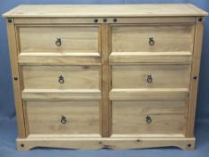 MODERN MEXICAN PINE SIX DRAWER BEDROOM CHEST - with iron ring pull handles, 103cms H, 135cms W, 48.