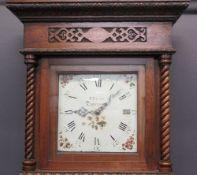 T PRATT TOWCESTER 30 HR 11IN SQUARE DIAL OAK LONGCASE CLOCK - floral painted spandrels and Roman
