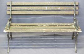 VINTAGE CAST IRON ANTIQUE SLATTED GARDEN BENCH - 73cms H, 122cms W, 53cms D