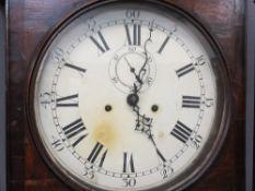 CIRCA 1840 CROSSBANDED OAK CIRCULAR DIAL LONGCASE CLOCK - 33cms diameter dial set with Roman