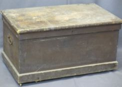 CIRCA 1900 PINE CAPTAIN'S CHEST - with iron lock and side carry handles and brass castors, 50cms