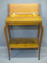 VINTAGE MAHOGANY TWO-TIER SEWING TABLE WITH CONTENTS - twin flap opening top opening to reveal