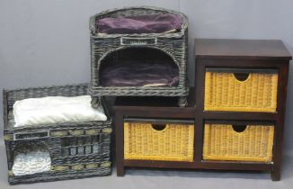 MICHUR WICKER PET BEDS (2) with a modern dark wood stepped unit with three wicker drawers, 46cms