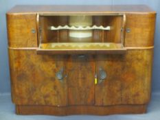 ART DECO STYLE WALNUT COCKTAIL SIDEBOARD with shaped drop-down front fall and decorative interior