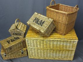 FORTNUM & MASON WITH OTHER PICNIC BASKETS, two handled log basket and a lidded wicker blanket chest,