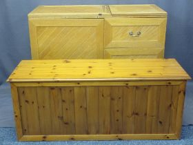 MODERN OAK FRONTED WORKSTATION and a reproduction pine blanket chest, the multifunctional work
